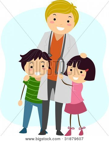 Illustration of Children Clinging on to a Pediatrician