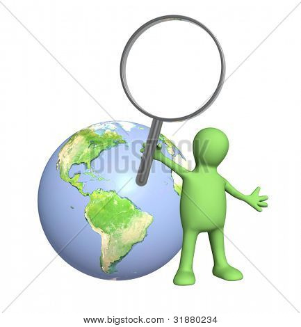 3d puppet with magnifier and Earth. Isolated over white