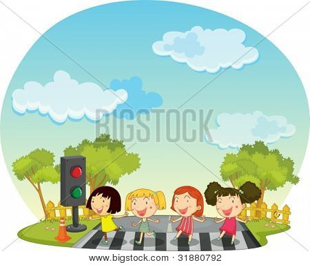 儿童过马路的插图