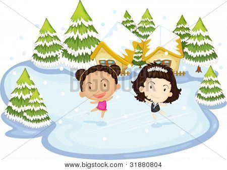 Illustration of kids dancing on ice