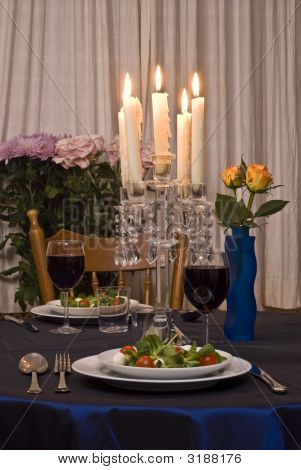 Romantic Table For Two Served With Salad