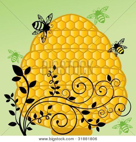 Honeycomb bee hive with flourish vine