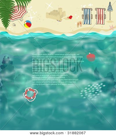 Summer Beach Background - Tropical beach with folding chairs, parasols, sand castle, seashells, colorful ball and other holiday accessories, on golden sand and glittering ocean water as a background