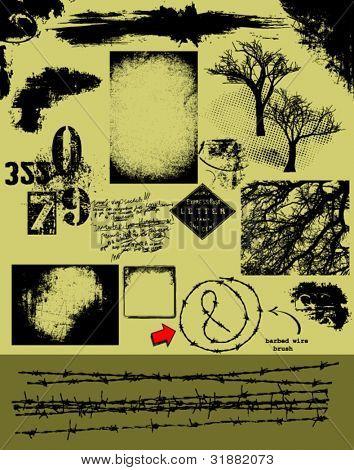 Cepillo de alambre de púas de Vector Pack_ de Grunge, fondos, superposiciones, texturas, árboles, esquinas y otro gru