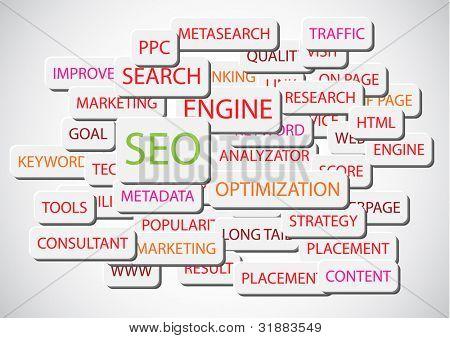 SEO - ilustración de fondo de vector de Search Engine Optimization
