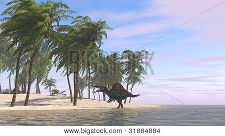 spinosaurus on shore