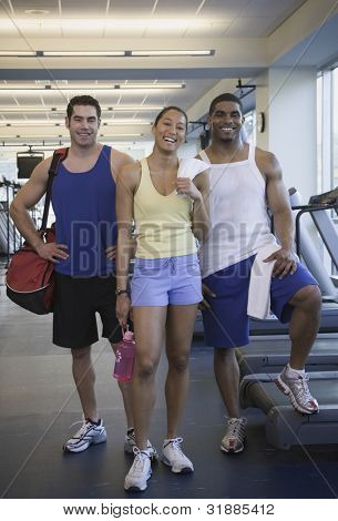 Three people at gym
