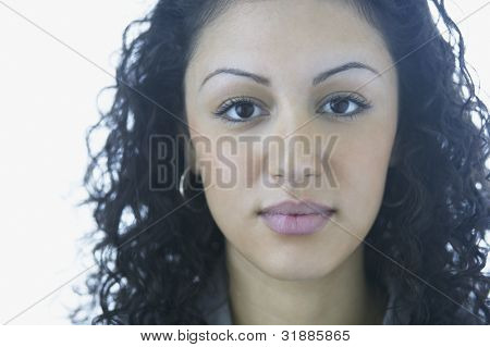 Close up of young woman's face