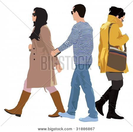 Small group of young people casual style. Separated persons. Vector color illustration.