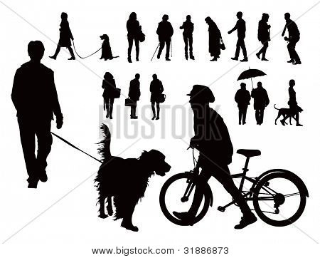 Over fifteen black vector silhouettes. People walking with dogs, alone and with bicycle. Spring casual clothes.