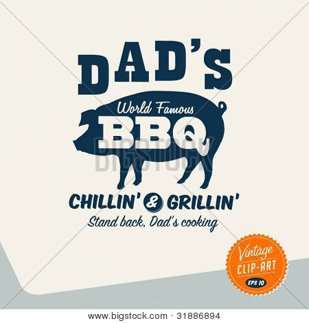 Vintage Clip Art - Dad's BBQ - Vector EPS10.