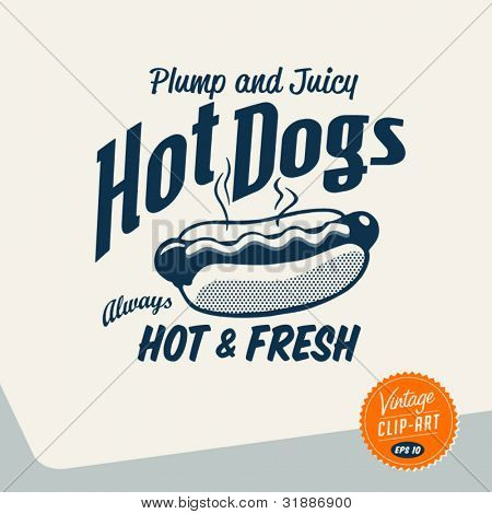 Vintage Clip Art - Hot Dog - Vector EPS10.