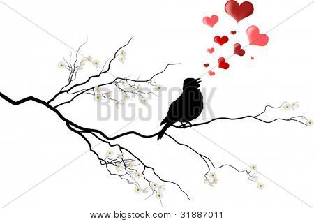 illustration with bird on cherry tree flower branch