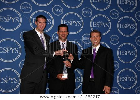 LOS ANGELES - JULY 14:  Ali Farokhmanesh, Ben Johnson and Adam Koch of the Northern Iowa men's basketball team in the Press Room of the 2010 ESPY Awards on July 14, 2010 in Los Angeles, CA
