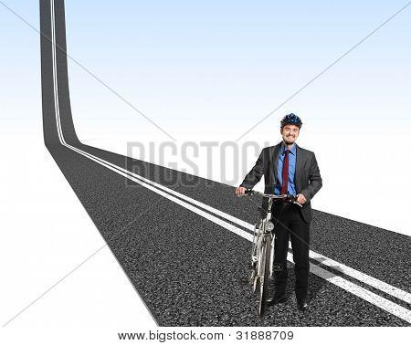 smiling businessman with bike and 3d asphalt way