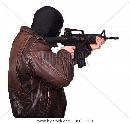 portrait of terrorist back view