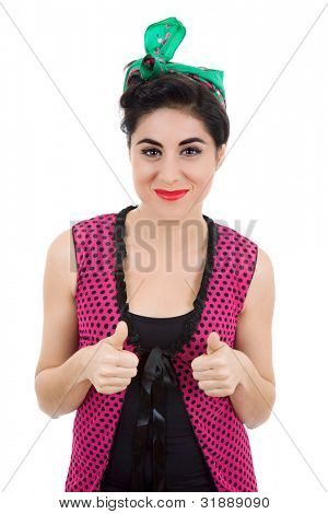 young beautiful pin up girl going thumbs up, isolated on white