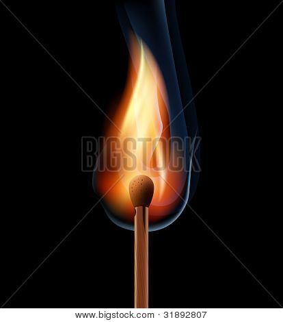 burning wooden match on a black background eps10