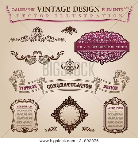 Calligraphic elements vintage labels. Congratulation and page decoration. Vector frame ornament