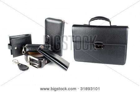 Leather male bag with accessories