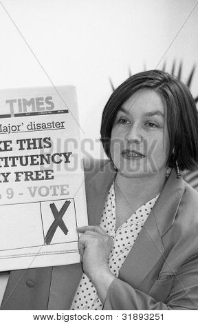 LONDON - MARCH 19: Nina Temple, Secretary of the Democratic Left party, speaks at  manifesto launch press conference on March 19, 1992 in London.
