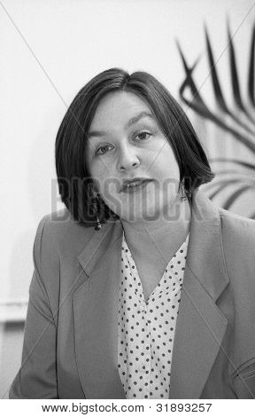 LONDON - MARCH 19: Nina Temple, Secretary of the Democratic Left party, attends their manifesto launch press conference on March 19, 1992 in London.