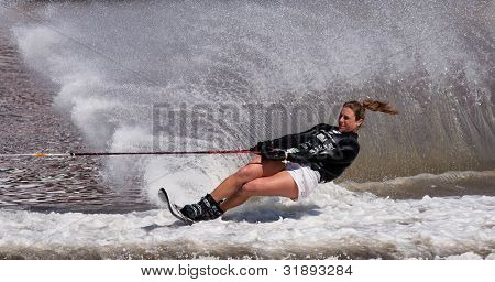 MELBOURNE, AUSTRALIA - MARCH 12: Regina Jaquess of the USA in the slalom event at the Moomba Masters on March 12, 2012 in Melbourne, Australia