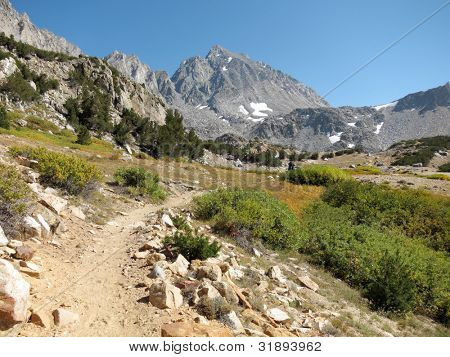 Hiking trail through mountains - Bishop Pass in Sierra Nevada, California
