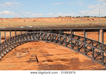 Beautiful pedestrian bridge next to the Glen Canyon Dam