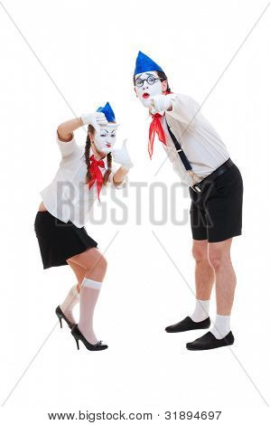 studio shot of funny mimes. isolated on white