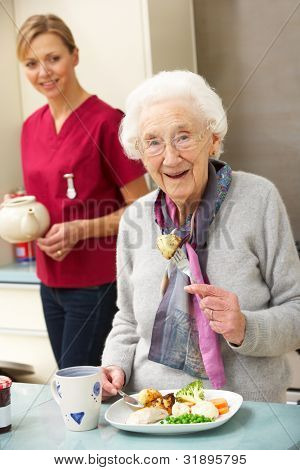 Senior woman with carer eating meal at home