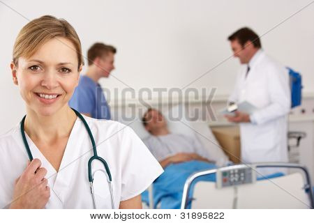 American doctor and team on hospital ward