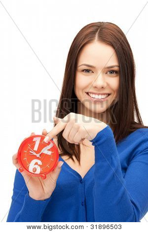 helles Bild of Woman holding Alarm clock
