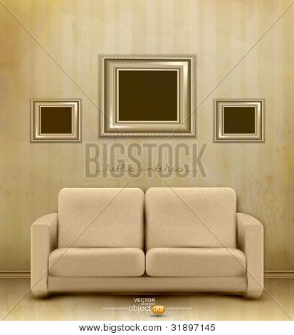 vector vintage retro interior with sofa and three frames for pictures on the wall