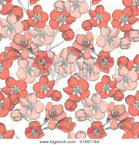 Frühling handgezeichnete Blumen nahtlos ornament