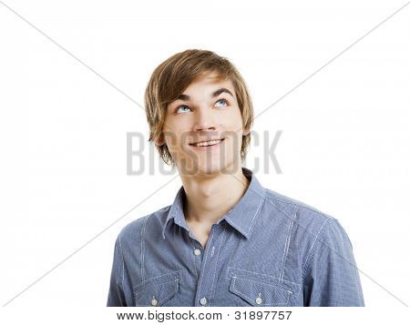 Portrait of a happy young man looking and thinking. isolated over a white background