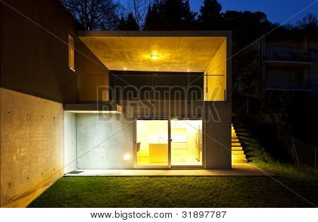 beautiful modern house, outdoor by night