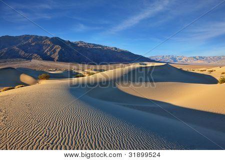 Kamm der Düne. am frühen Morgen in der Wüste. plötzlicher Schatten, feinen Wellen im sand