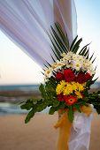 Wedding Decoration At The Beach. Flower Decoration. Colorful Flower Bouquet. Romantic Dinner Decorat poster