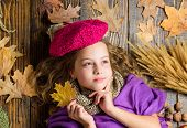 Girl Cute Child In Knitted Hat Lay Wooden Background Fallen Maple Leaves Top View. Fashion Hat Trend poster