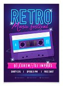 Retro Music Poster Template. Music Festival. Realistic Bright Audio Cassette. Mixtape In Style Of 80 poster