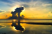 Sunrise On Beach Beautiful At Ban Krut Beach, In Prachap Kirikhun Province Thailand Is Famous For Tr poster