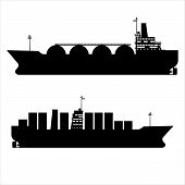 Icon Set Gas Tanker Lng Cargo Ship Tanker With Containers. Delivery, Silhouette Transportation, Ship poster