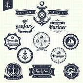 foto of sketch book  - Set Of Vintage Retro Nautical Badges And Labels - JPG
