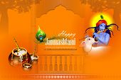 Lord Krishna Eating Makhan Cream On Happy Janmashtami Holiday Indian Festival Greeting Background poster
