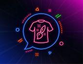 T-shirt Design Line Icon. Neon Laser Lights. Creative Brush Sign. T Shirt Graphic Art Symbol. Glow L poster