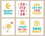 Vector Nursery Kids Posters Set With Hand Drawn Lettering Phrases For Wall Art, Children Fashion Tee poster