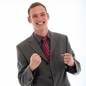Excited Businessman Punching Fists In Jubilation