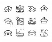 Set Of Transportation Icons, Such As Taxi, Car Parking, Parking Payment, Get Box, Hold Box, Car, Amb poster