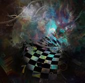Surrealism. Womans face with checkered pattern in vivid universe. Spirals of time. 3D Rendering poster